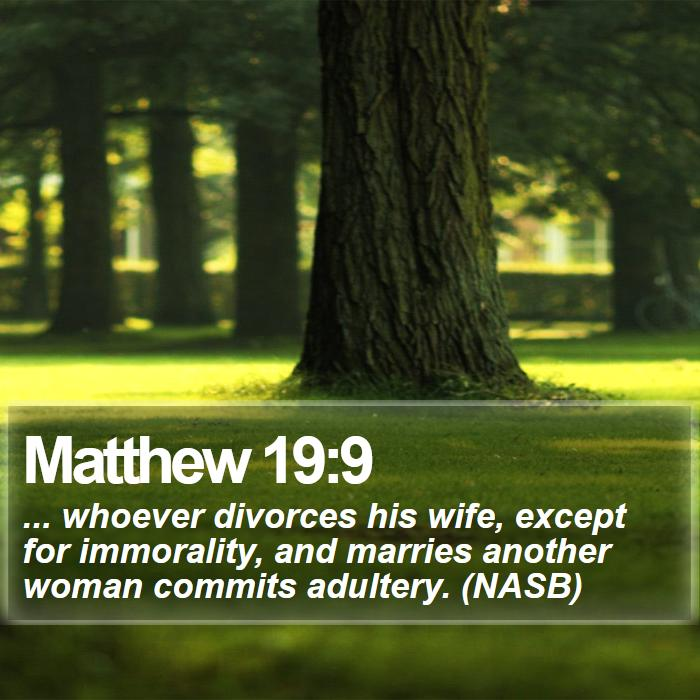 Matthew 19:9 - ... whoever divorces his wife, except for immorality, and marries another woman commits adultery. (NASB)
