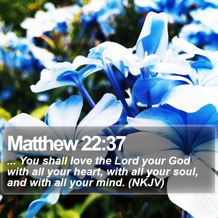Matthew 22:37 - ... You shall love the Lord your God with all your heart, with all your soul, and with all your mind. (NKJV)