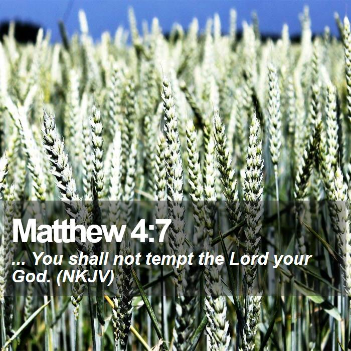Matthew 4:7 - ... You shall not tempt the Lord your God. (NKJV)