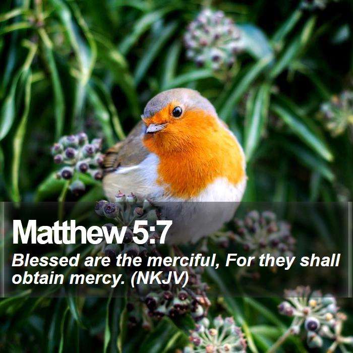 Matthew 5:7 - Blessed are the merciful, For they shall obtain mercy. (NKJV)