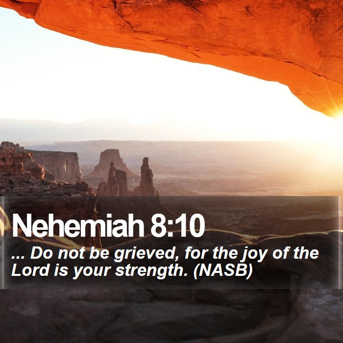 Nehemiah 8:10 - ... Do not be grieved, for the joy of the Lord is your strength. (NASB)