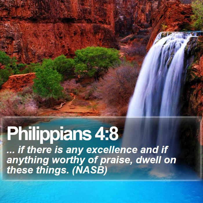 Philippians 4:8 - ... if there is any excellence and if anything worthy of praise, dwell on these things. (NASB)