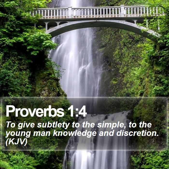 Proverbs 1:4 - To give subtlety to the simple, to the young man knowledge and discretion. (KJV)