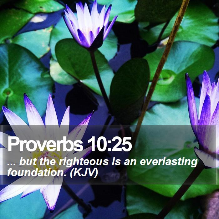Proverbs 10:25 - ... but the righteous is an everlasting foundation. (KJV)