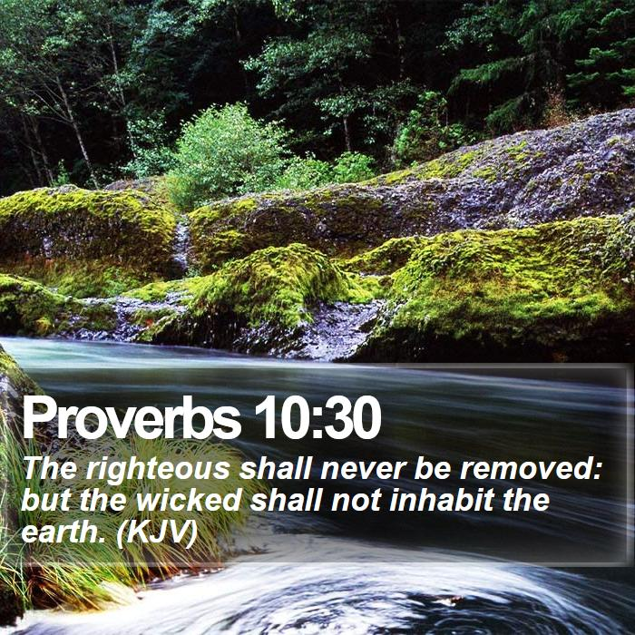 Proverbs 10:30 - The righteous shall never be removed: but the wicked shall not inhabit the earth. (KJV)
