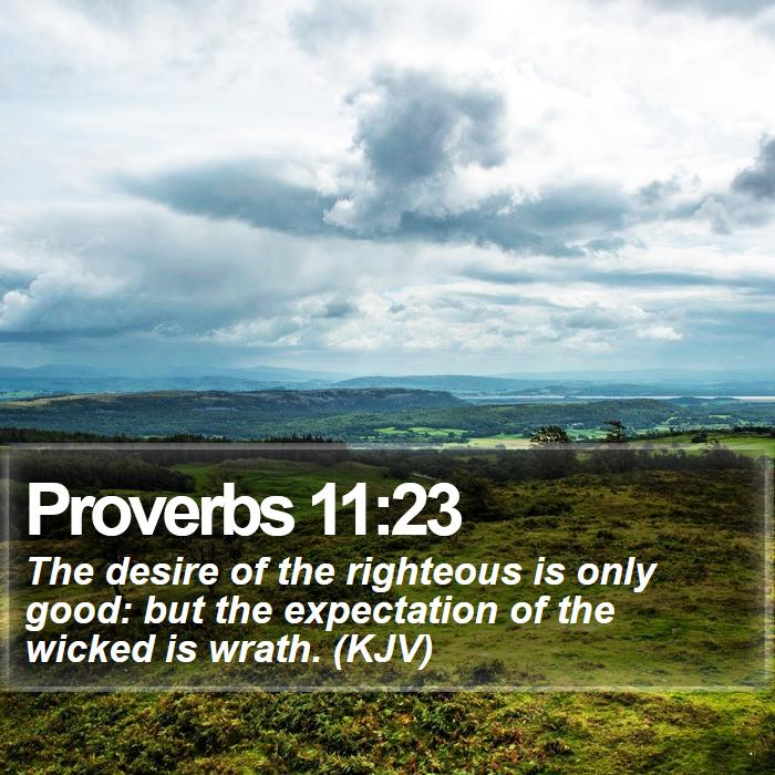 Proverbs 11:23 - The desire of the righteous is only good: but the expectation of the wicked is wrath. (KJV)