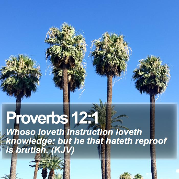 Proverbs 12:1 - Whoso loveth instruction loveth knowledge: but he that hateth reproof is brutish. (KJV)