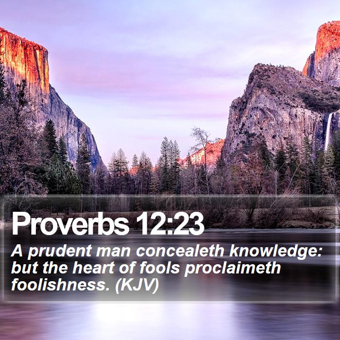 Proverbs 12:23 - A prudent man concealeth knowledge: but the heart of fools proclaimeth foolishness. (KJV)