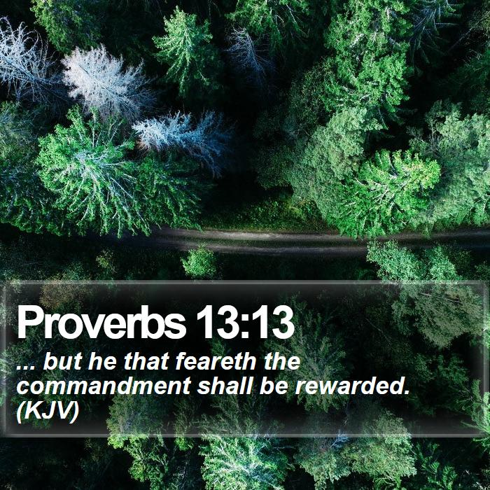 Proverbs 13:13 - ... but he that feareth the commandment shall be rewarded. (KJV)