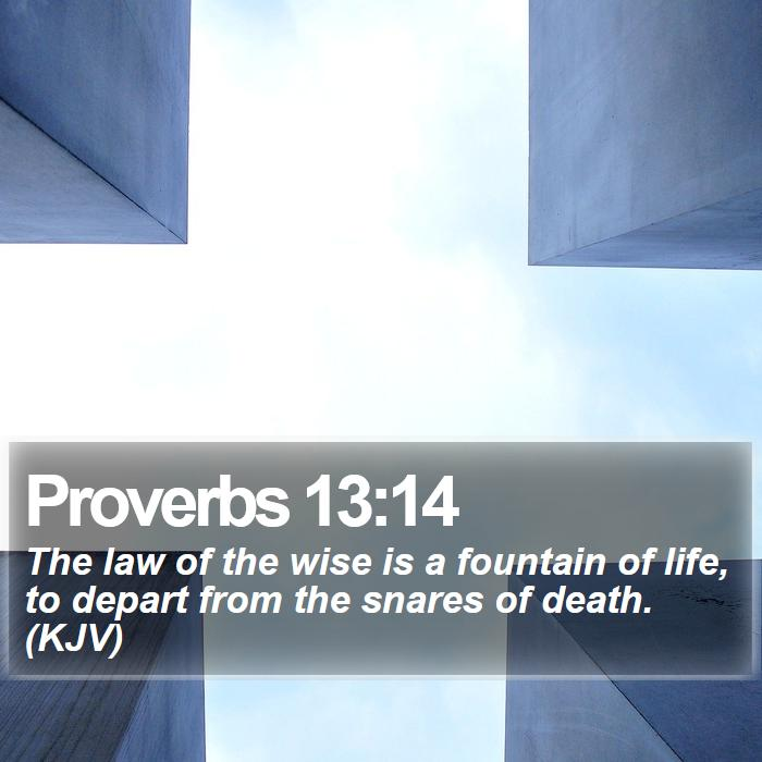 Proverbs 13:14 - The law of the wise is a fountain of life, to depart from the snares of death. (KJV)