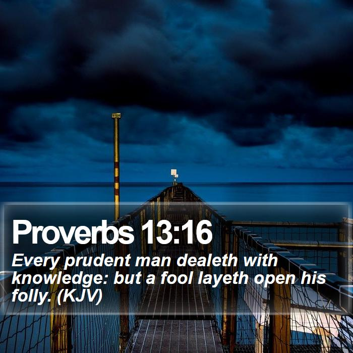 Proverbs 13:16 - Every prudent man dealeth with knowledge: but a fool layeth open his folly. (KJV)