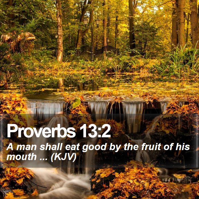Proverbs 13:2 - A man shall eat good by the fruit of his mouth ... (KJV)