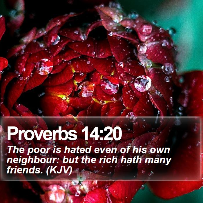 Proverbs 14:20 - The poor is hated even of his own neighbour: but the rich hath many friends. (KJV)