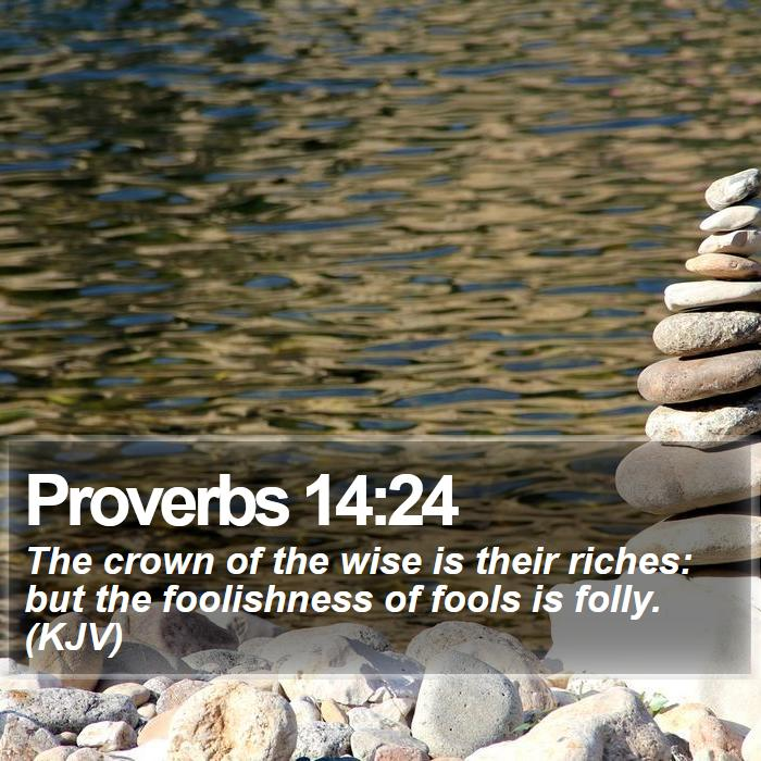 Proverbs 14:24 - The crown of the wise is their riches: but the foolishness of fools is folly. (KJV)