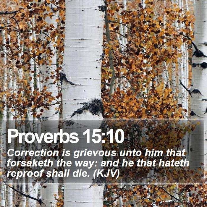 Proverbs 15:10 - Correction is grievous unto him that forsaketh the way: and he that hateth reproof shall die. (KJV)