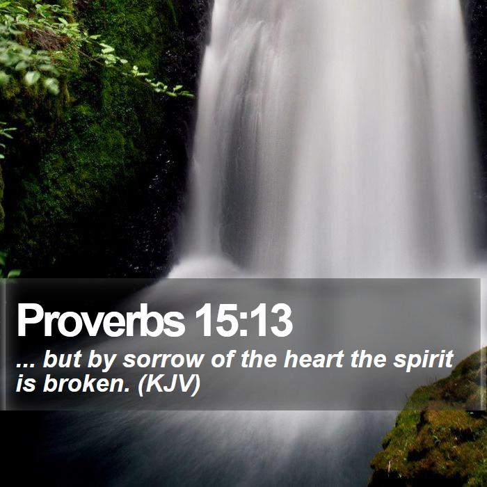 Proverbs 15:13 - ... but by sorrow of the heart the spirit is broken. (KJV)