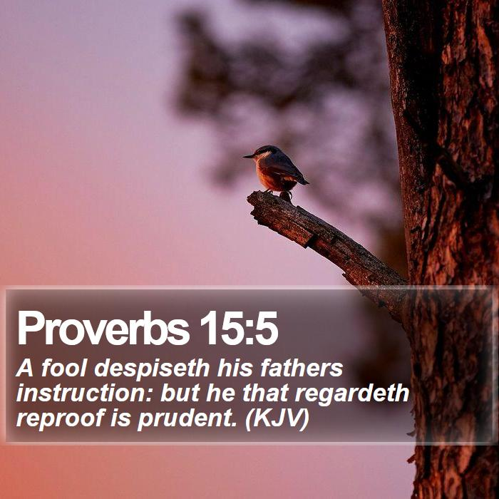 Proverbs 15:5 - A fool despiseth his fathers instruction: but he that regardeth reproof is prudent. (KJV)