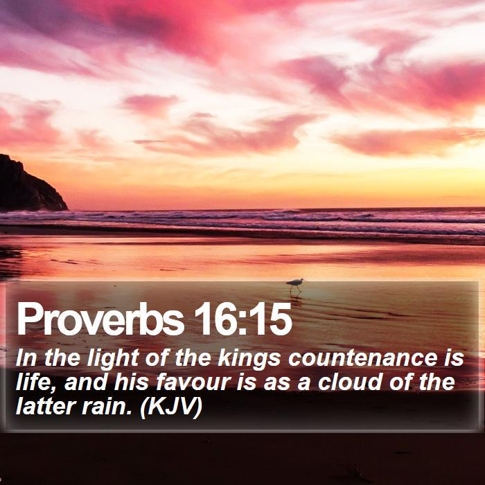 Proverbs 16:15 - In the light of the kings countenance is life, and his favour is as a cloud of the latter rain. (KJV)
