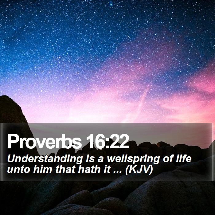 Proverbs 16:22 - Understanding is a wellspring of life unto him that hath it ... (KJV)