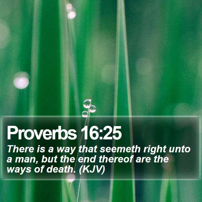 Proverbs 16:25 - There is a way that seemeth right unto a man, but the end thereof are the ways of death. (KJV)