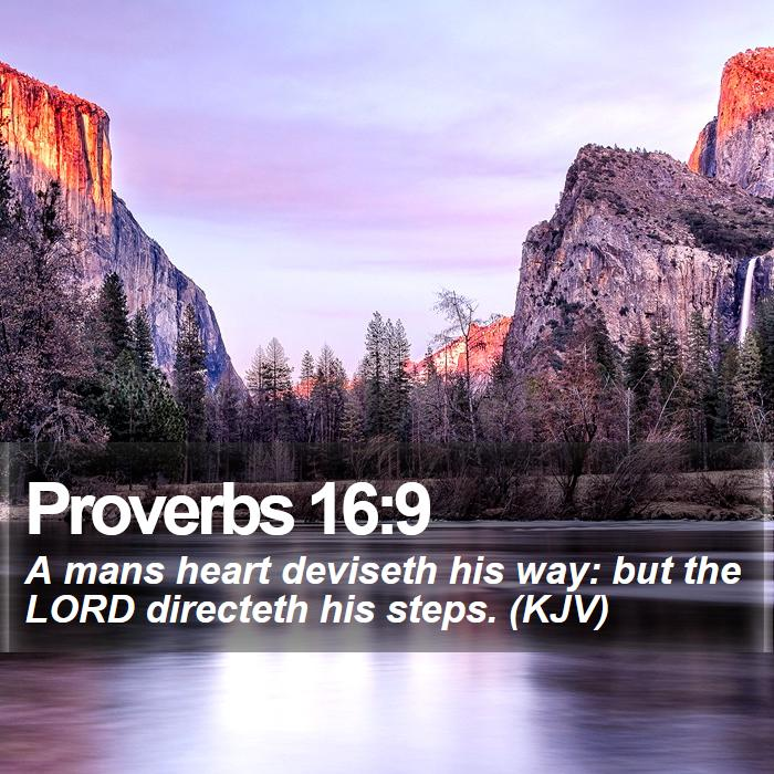 Proverbs 16:9 - A mans heart deviseth his way: but the LORD directeth his steps. (KJV)