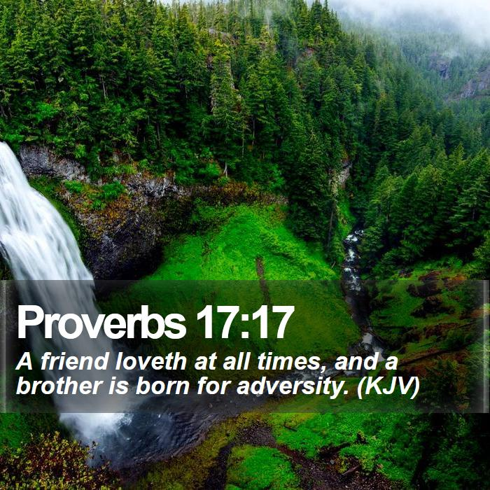 Proverbs 17:17 - A friend loveth at all times, and a brother is born for adversity. (KJV)
