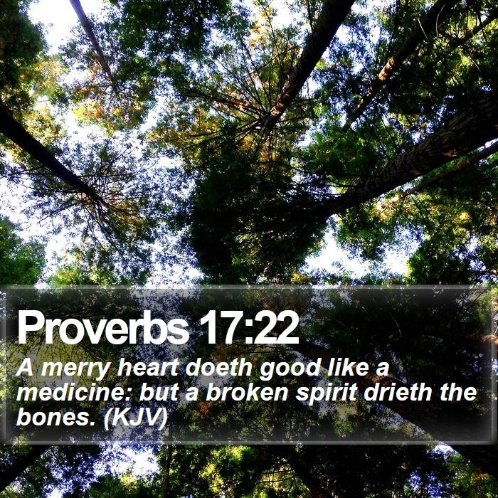 Proverbs 17:22 - A merry heart doeth good like a medicine: but a broken spirit drieth the bones. (KJV)