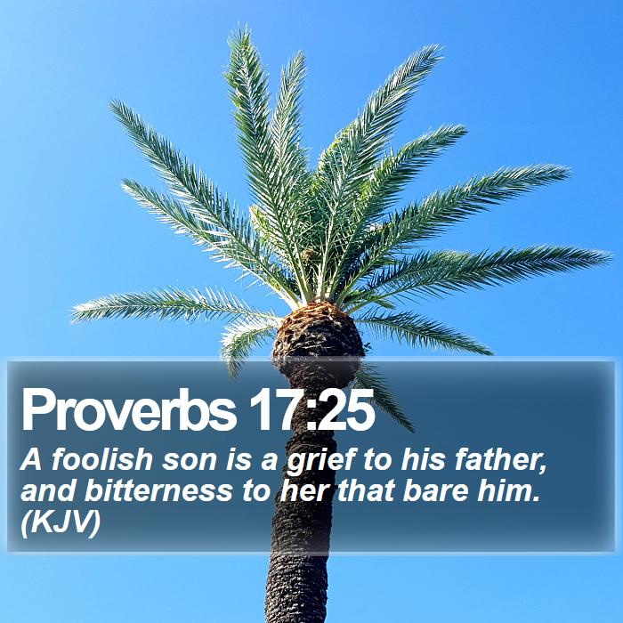 Proverbs 17:25 - A foolish son is a grief to his father, and bitterness to her that bare him. (KJV)