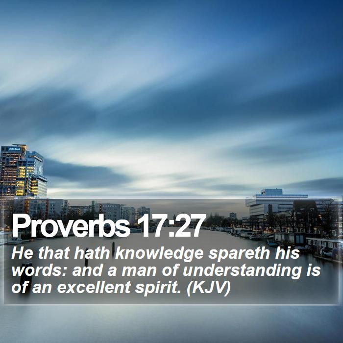 Proverbs 17:27 - He that hath knowledge spareth his words: and a man of understanding is of an excellent spirit. (KJV)