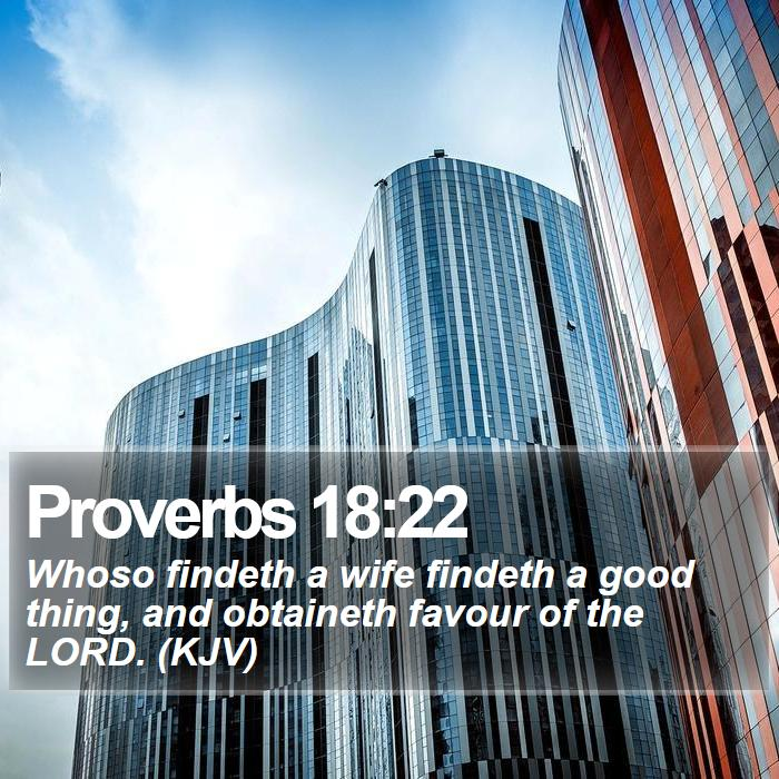 Proverbs 18:22 - Whoso findeth a wife findeth a good thing, and obtaineth favour of the LORD. (KJV)