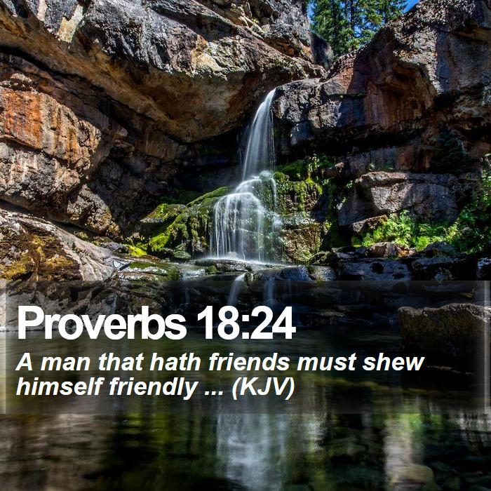 Proverbs 18:24 - A man that hath friends must shew himself friendly ... (KJV)