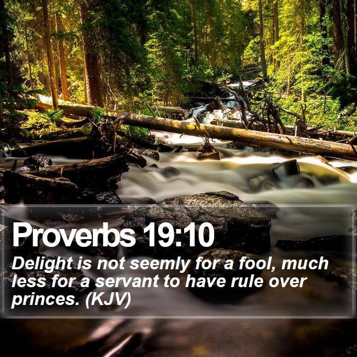 Proverbs 19:10 - Delight is not seemly for a fool, much less for a servant to have rule over princes. (KJV)