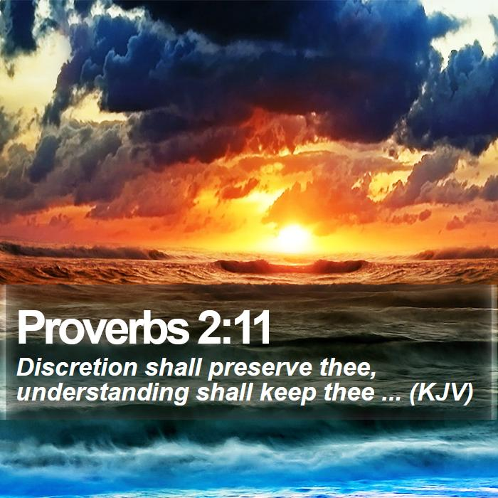 Proverbs 2:11 - Discretion shall preserve thee, understanding shall keep thee ... (KJV)