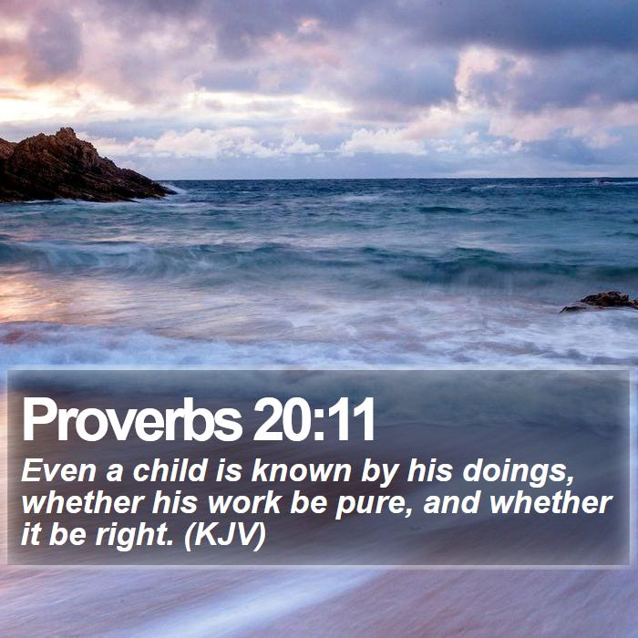 Proverbs 20:11 - Even a child is known by his doings, whether his work be pure, and whether it be right. (KJV)