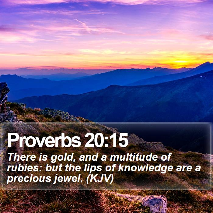 Proverbs 20:15 - There is gold, and a multitude of rubies: but the lips of knowledge are a precious jewel. (KJV)