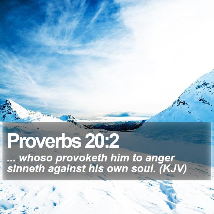 Proverbs 20:2 - ... whoso provoketh him to anger sinneth against his own soul. (KJV)