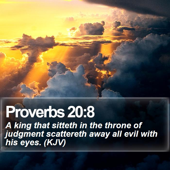 Proverbs 20:8 - A king that sitteth in the throne of judgment scattereth away all evil with his eyes. (KJV)