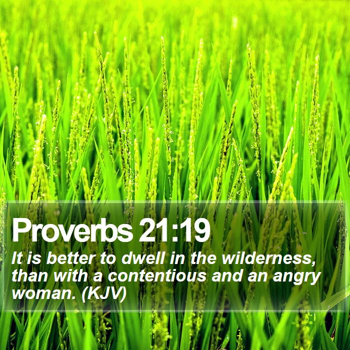 Proverbs 21:19 - It is better to dwell in the wilderness, than with a contentious and an angry woman. (KJV)