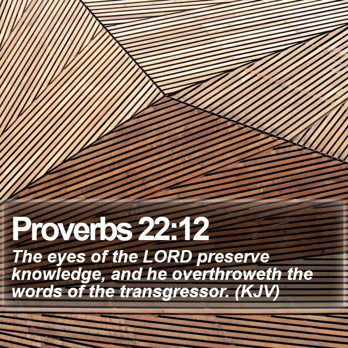 Proverbs 22:12 - The eyes of the LORD preserve knowledge, and he overthroweth the words of the transgressor. (KJV)