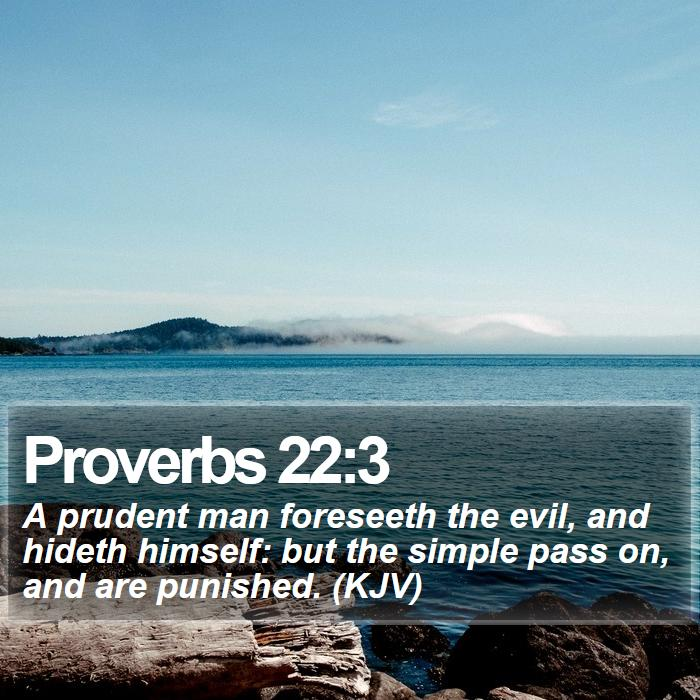 Proverbs 22:3 - A prudent man foreseeth the evil, and hideth himself: but the simple pass on, and are punished. (KJV)