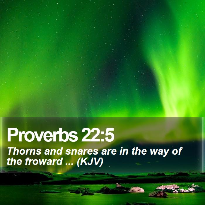 Proverbs 22:5 - Thorns and snares are in the way of the froward ... (KJV)