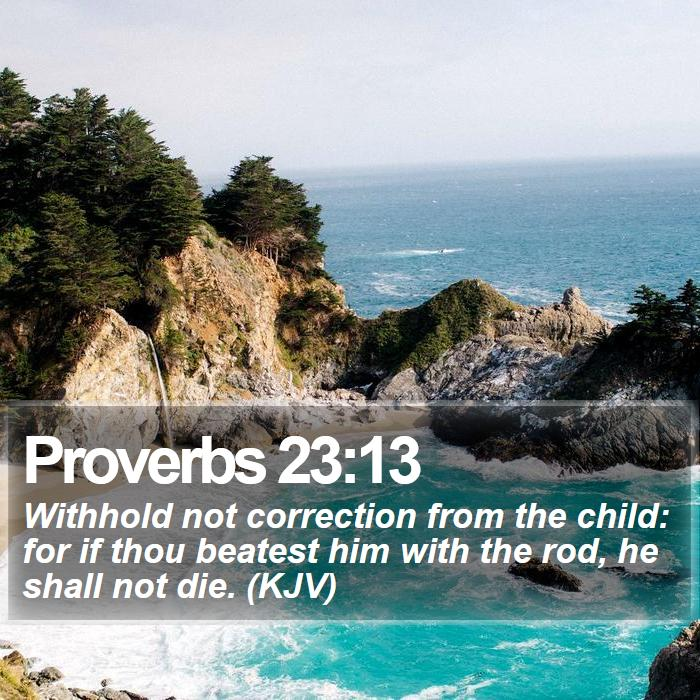 Proverbs 23:13 - Withhold not correction from the child: for if thou beatest him with the rod, he shall not die. (KJV)