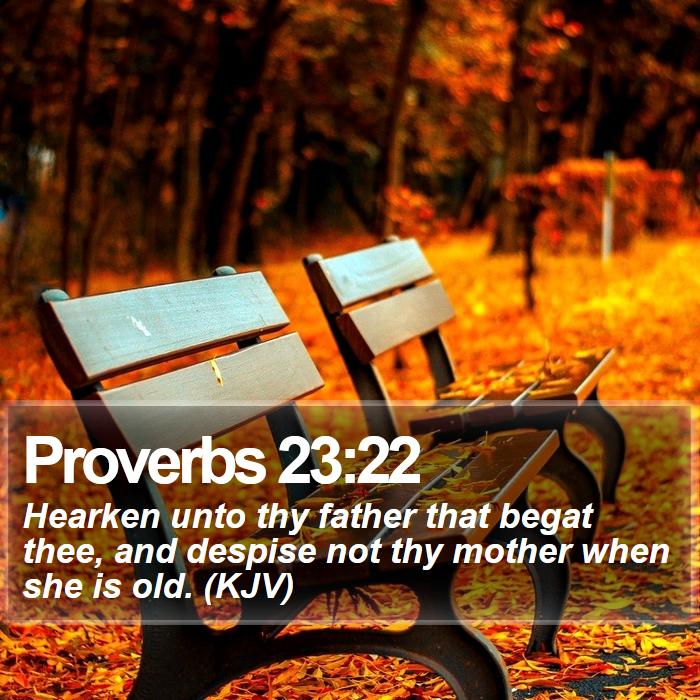 Proverbs 23:22 - Hearken unto thy father that begat thee, and despise not thy mother when she is old. (KJV)
