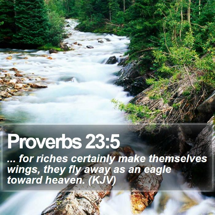 Proverbs 23:5 - ... for riches certainly make themselves wings, they fly away as an eagle toward heaven. (KJV)