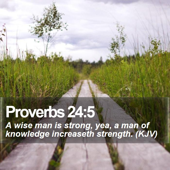 Proverbs 24:5 - A wise man is strong, yea, a man of knowledge increaseth strength. (KJV)