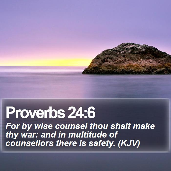 Proverbs 24:6 - For by wise counsel thou shalt make thy war: and in multitude of counsellors there is safety. (KJV)