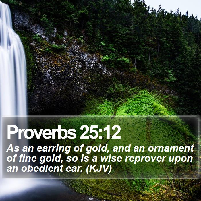 Proverbs 25:12 - As an earring of gold, and an ornament of fine gold, so is a wise reprover upon an obedient ear. (KJV)