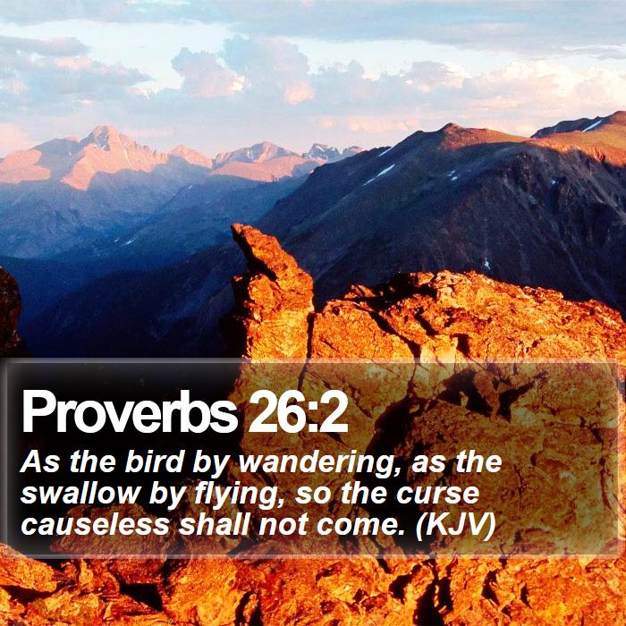 Proverbs 26:2 - As the bird by wandering, as the swallow by flying, so the curse causeless shall not come. (KJV)