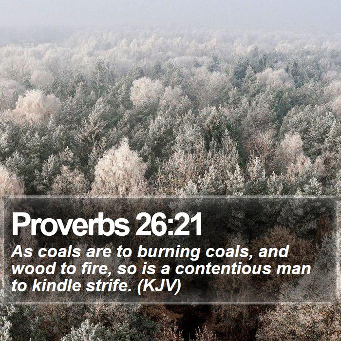 Proverbs 26:21 - As coals are to burning coals, and wood to fire, so is a contentious man to kindle strife. (KJV)