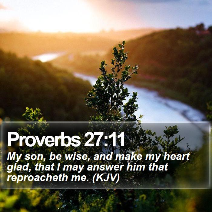 Proverbs 27:11 - My son, be wise, and make my heart glad, that I may answer him that reproacheth me. (KJV)